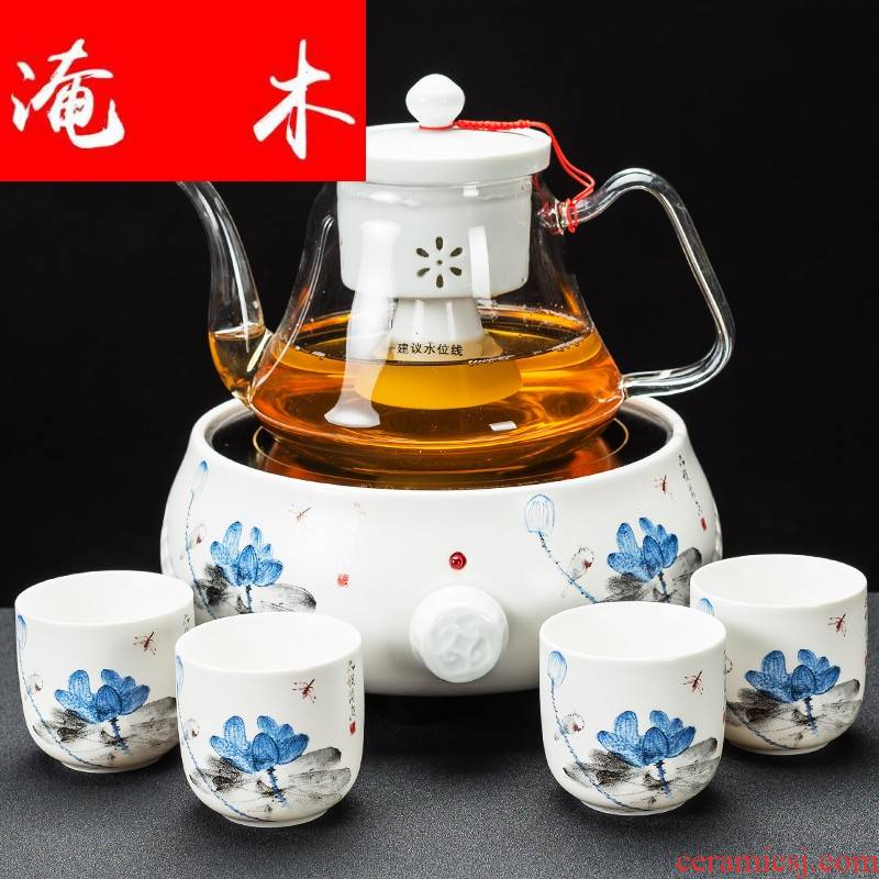 Submerged wood cooked a whole set of heat - resistant glass teapot tea steamer household contracted automatic electric TaoLu boiled tea set