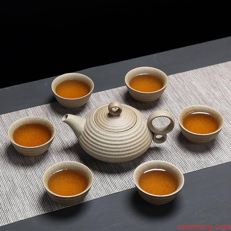 Coarse pottery ceramic kung fu tea set a pot of tea six simple office make tea with a pure color Coarse pottery teapot teacup