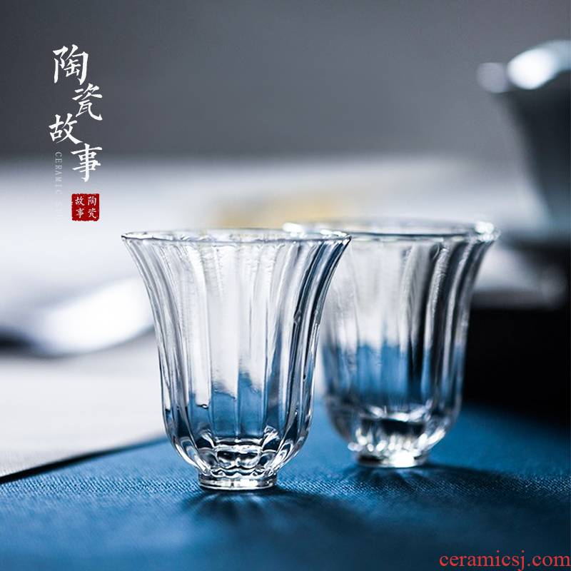 Story of pottery and porcelain teacup personal special kung fu master cup single glass of coloured glaze fragrance - smelling cup small sample tea cup glass cup