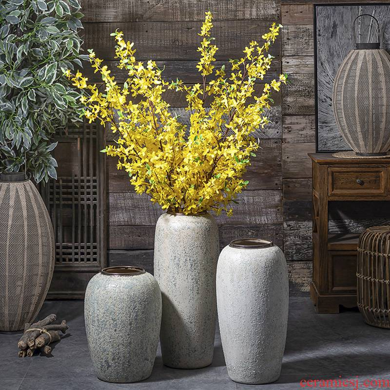 Dried flowers flower arrangement sitting room adornment I and contracted white creative home big vase Nordic furnishing articles coarse pottery restoring ancient ways
