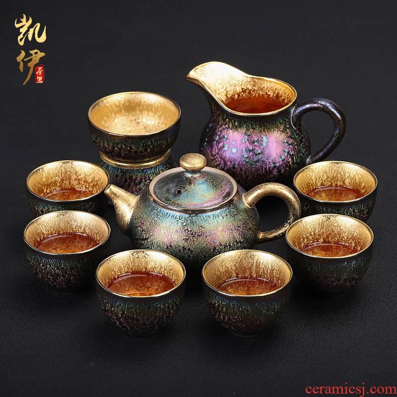 Manual fine gold discus temmoku up tea set informs the ceramic teapot gold cup tea tureen office