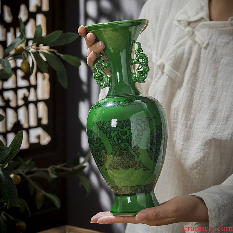Jingdezhen ceramics vase emerald green antique bottles of Chinese style restoring ancient ways household decorates sitting room place adorn article