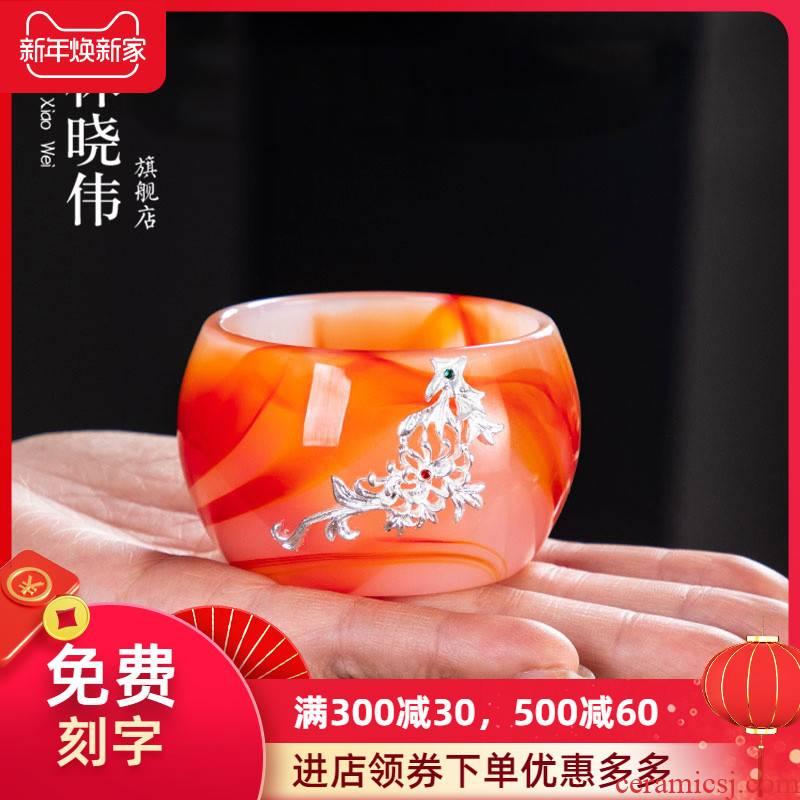 """Agate jade porcelain teacup masters cup silver coloured glaze jade single tea cup """"bodhi big kung fu tea sample tea cup"""