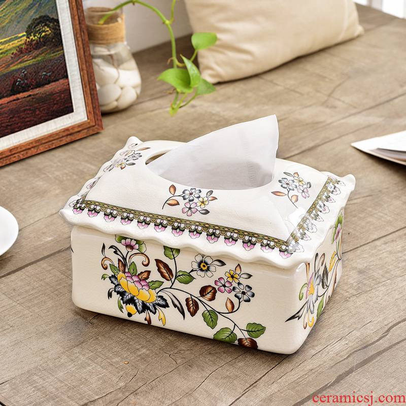 Key-2 Luxury European - style tissue box sitting room smoke box household ceramics creative retro bedroom waterproof tea table decoration
