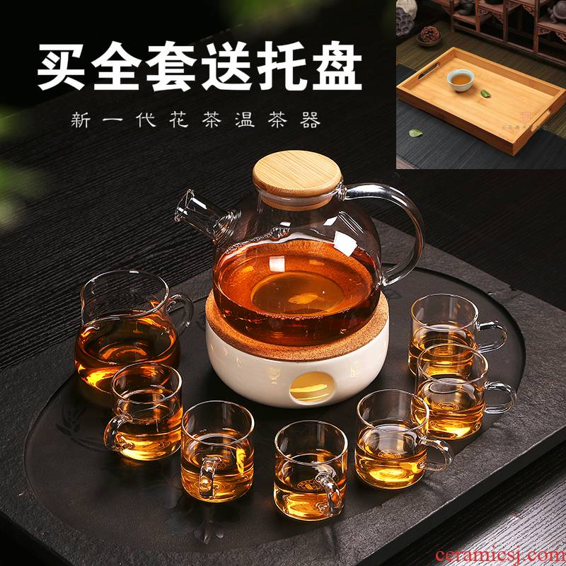 Thickening filter glass flower pot cooking fruit teapot hot mercifully kettle suit household heating candles base