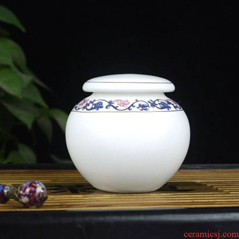 Jingdezhen ceramic small caddy fixings. Two caddy fixings blue as cans inferior smooth caddy fixings seal pot storage tanks