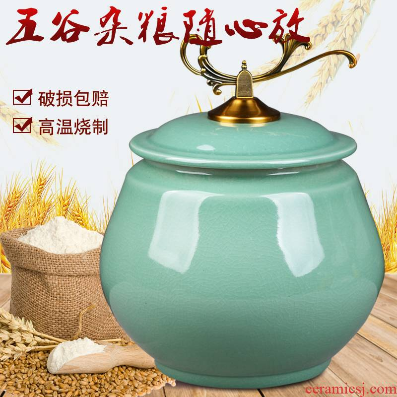 Jingdezhen ceramic barrel ricer box moistureproof insect - resistant seal storage jar with cover rice box storage oil tank m furnishing articles