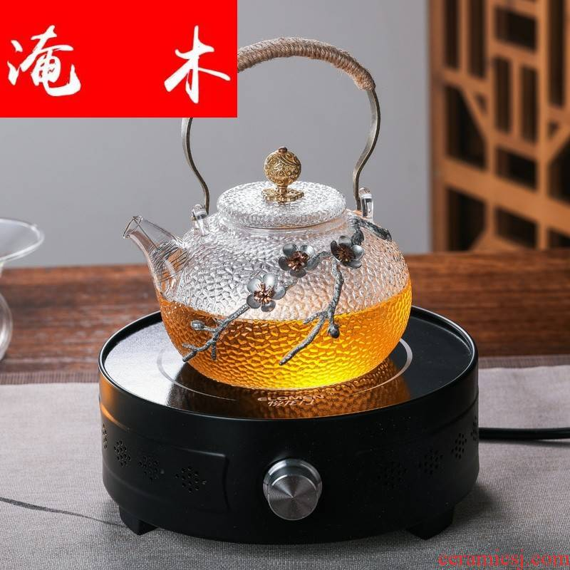 Flooded straight wood pure manual heat - resistant glass heat hammer cooking pot electricity TaoLu special kettle copper girder