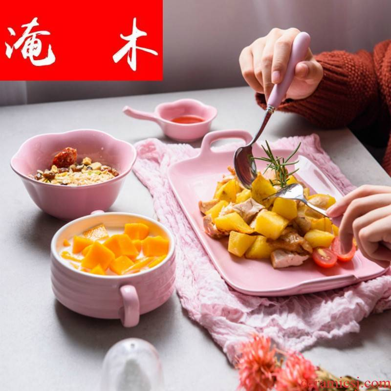 Submerged wood plates dishes dish of rice bowls dormitory ears cartoon snacks, multi - function Korean sushi -type bowls plate