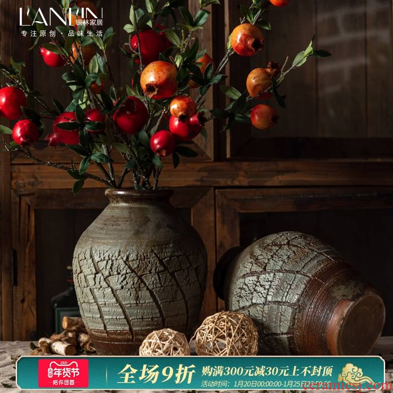 Jingdezhen ceramic vase furnishing articles sitting room flower arranging new Chinese style restoring ancient ways hydroponic vase American table dry flower vase