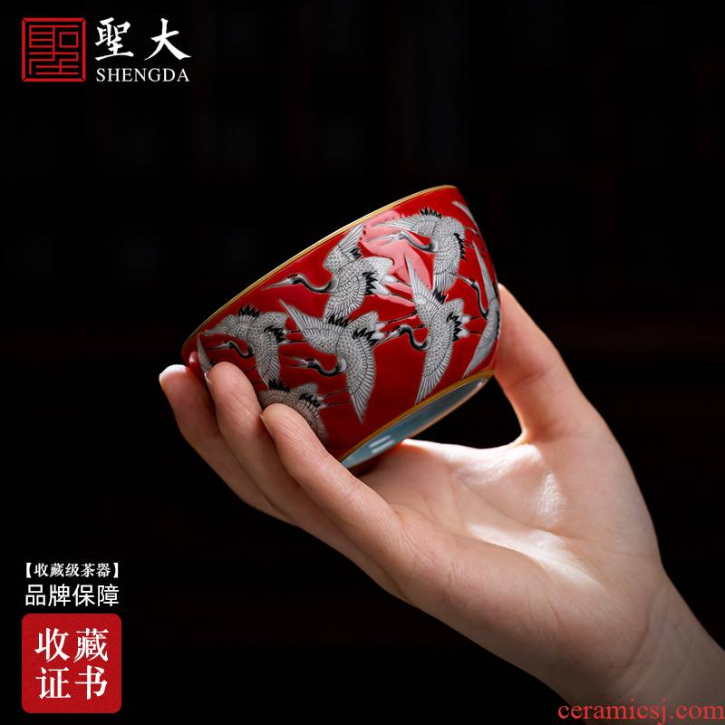 Teacups hand - made ceramic kung fu SAN red in pastel Wan He figure cup single cup all hand of jingdezhen tea service master