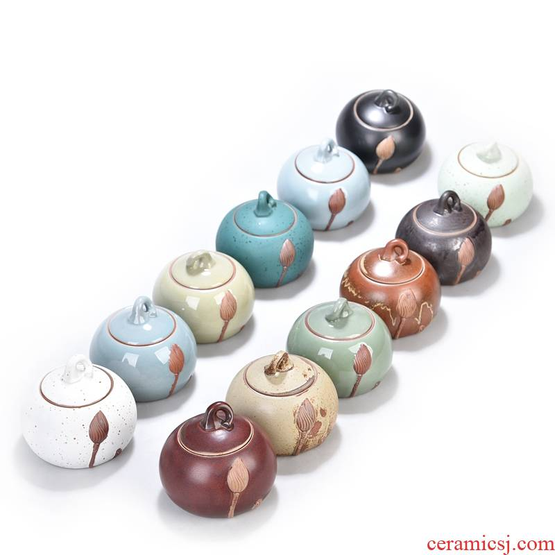 Hui shi brother celadon seal your up up ceramic ice crack storage tanks pu - erh tea caddy fixings warehouse copper ring