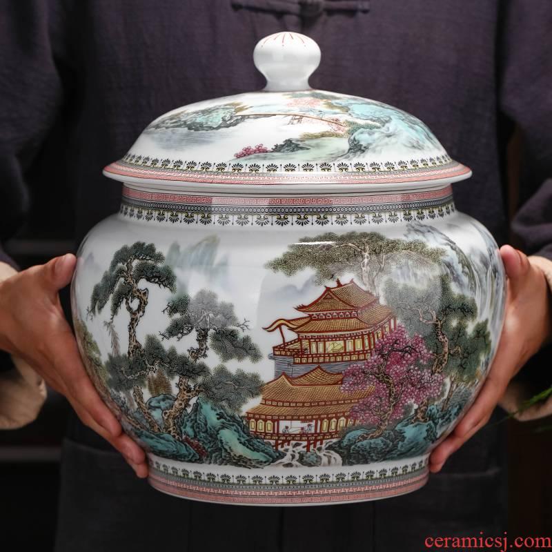Archaize ceramic tea pot furnishing articles large with cover puer tea cake receive tank jingdezhen domestic large capacity POTS