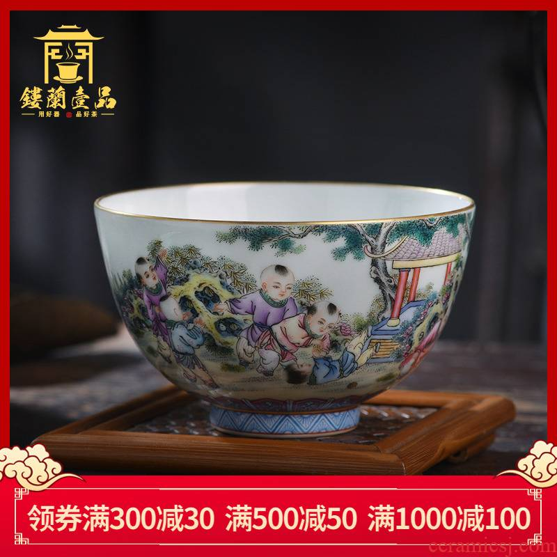 All hand - made pastel lad large master cup of jingdezhen ceramics kung fu tea set single cup home tea cup bowl