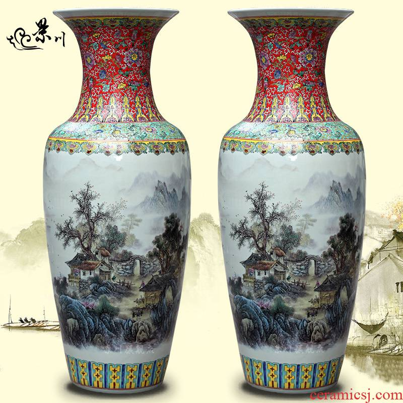 Jingdezhen ceramic powder enamel archaize sitting room office study Chinese landscape painting of large vase household furnishing articles