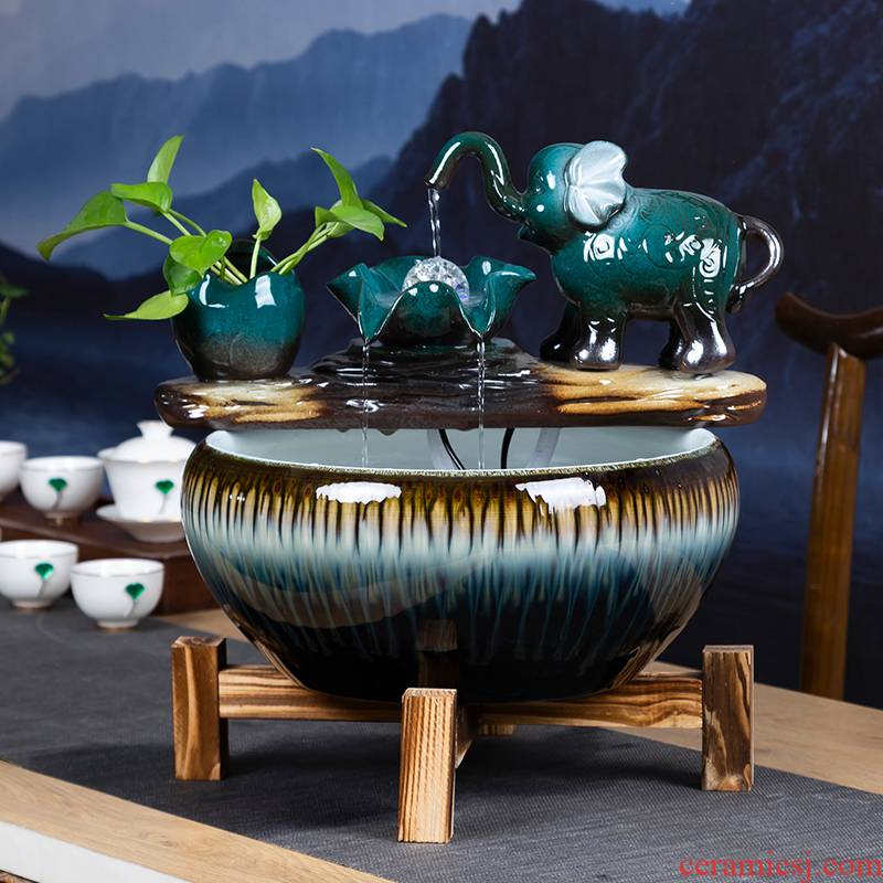 Creative ceramic aquarium Chinese small sitting room, informs the desktop automatic cycle water lucky gold aquarium fish bowl