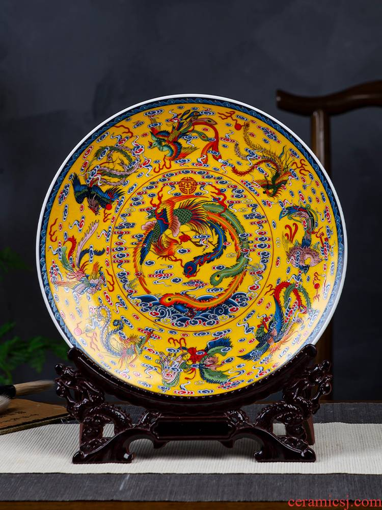 Jingdezhen porcelain ceramic decoration plate of furnishing articles about nine large chicken figure sitting room of Chinese style household porch swing plate plate