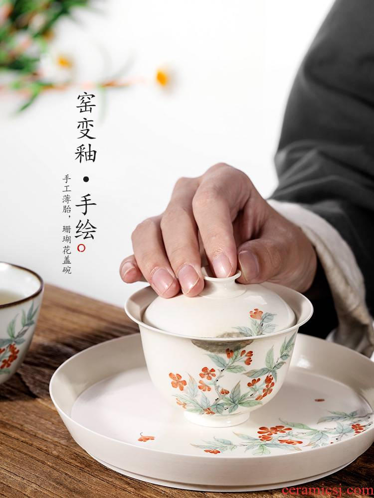 Jingdezhen ceramic checking tureen tea cups a single variable to use hand - made coral flowers from the female