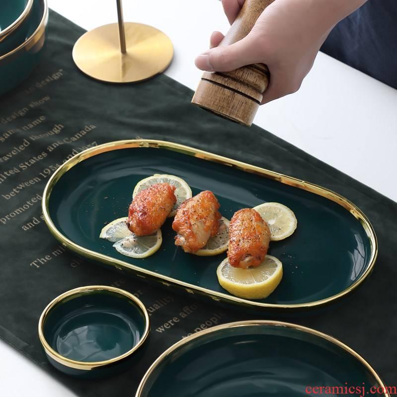 European style up phnom penh ceramic dinner plate Nordic emerald steak knife and fork set web celebrity ins plate household