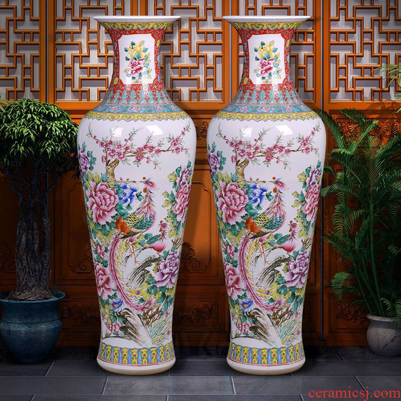 Jingdezhen hand - made pastel auspicious phoenix hotel to the gauge the vase the sitting room porch oversized ground ceramic decorative furnishing articles