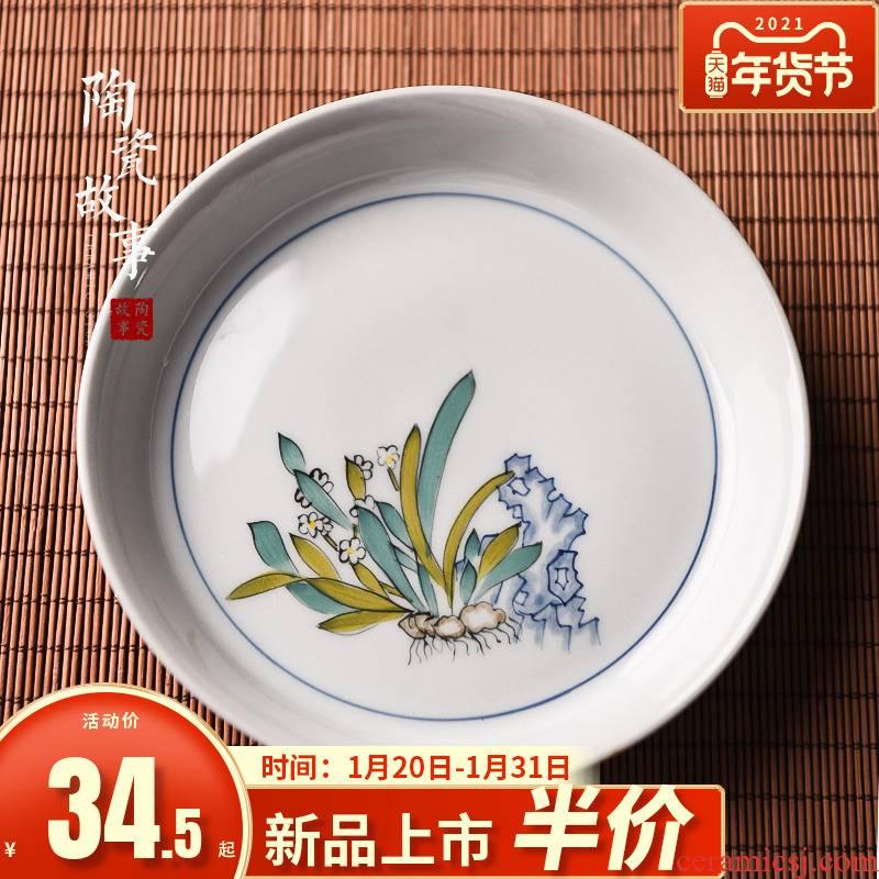 Hand - made ceramic story pot bearing plate of water bearing zen jingdezhen plant ash Japanese tea saucer pot dry terms to the machine