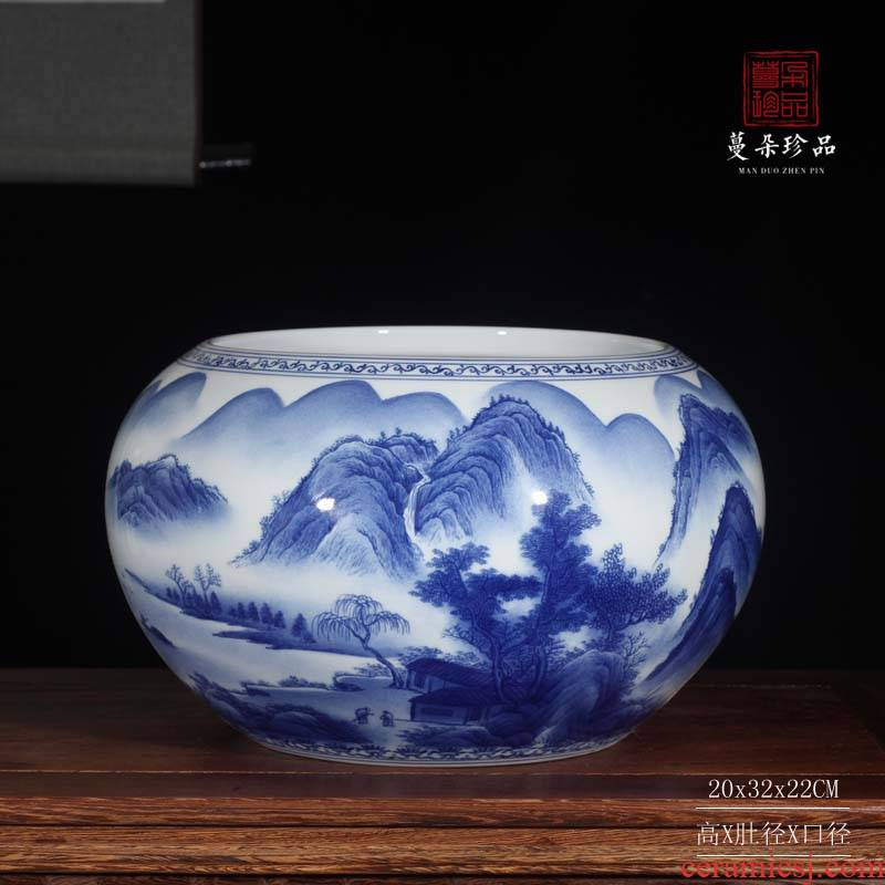 Blue and white writing brush washer aquarium water shallow high - grade ceramic painting outside in a double - sided painting landscape tong qu furnishing articles