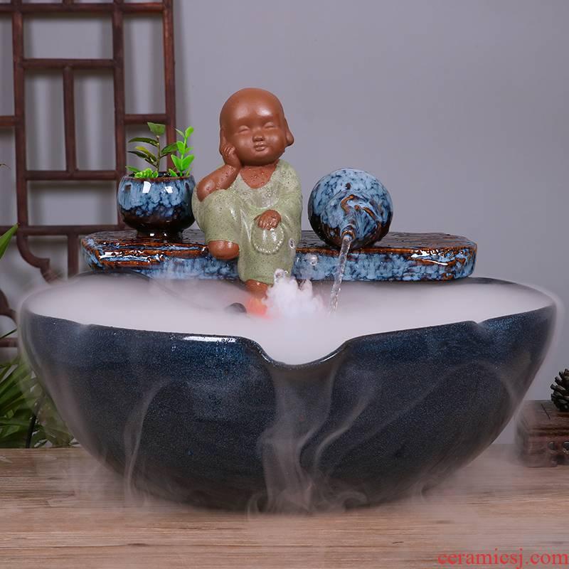 Jingdezhen ceramic tank sitting room place office desktop water tank atomizing humidifier household