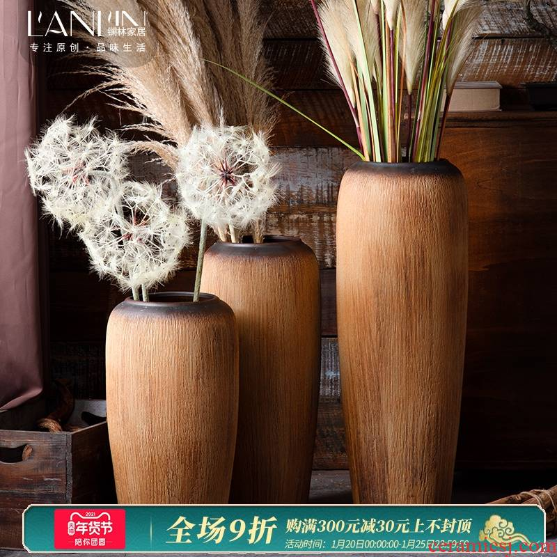 Jingdezhen ceramic vases, new Chinese style restoring ancient ways is nostalgic zen dried flowers flower arrangement sitting room adornment landing big furnishing articles