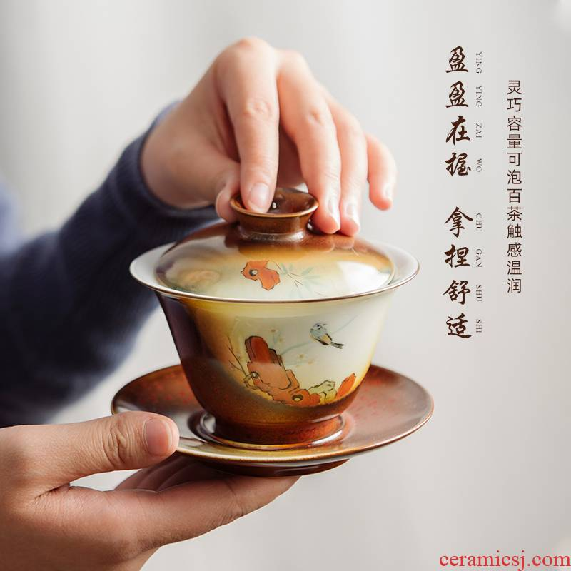 Jingdezhen ancient hand - made only three tureen tea cups a single large thickening tea bowl with cover tea set heat