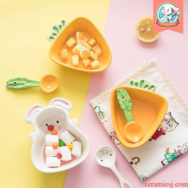 The kitchen web celebrity children cutlery set express cartoon ceramic bowls creative move baby to assist The food bowl chopsticks for breakfast