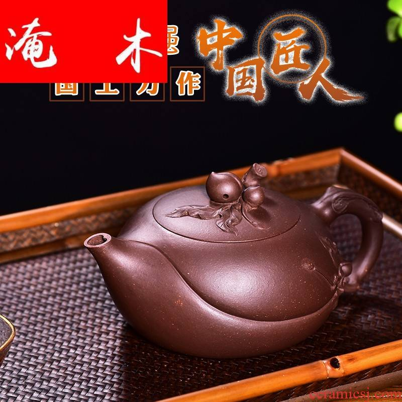 Flooded high - end wood! Undressed ore ceramic tea pot - peach is the engineering masters pure manual old purple clay pot of collection