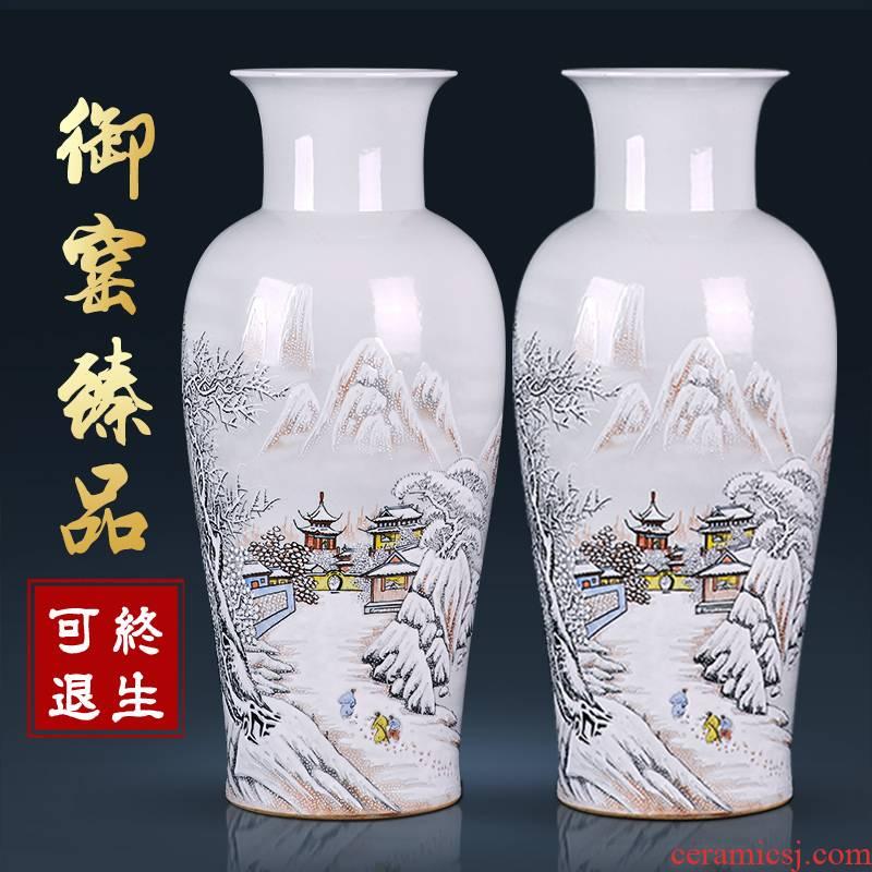 Jingdezhen ceramics antique hand - made vases, sitting room of Chinese style household flower arranging desktop ornaments TV ark, furnishing articles