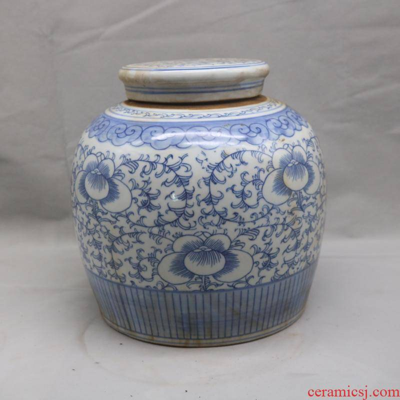 Tie up branch happy character canister of the republic of China republic XiZi as cans of blue and white porcelain antique old junk sitting room China