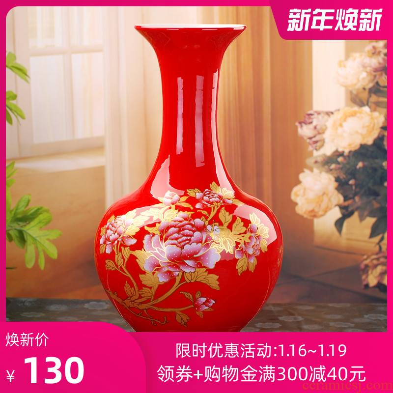 Jingdezhen ceramic vase landing fashionable household living room a study Chinese red peony vases home furnishing articles