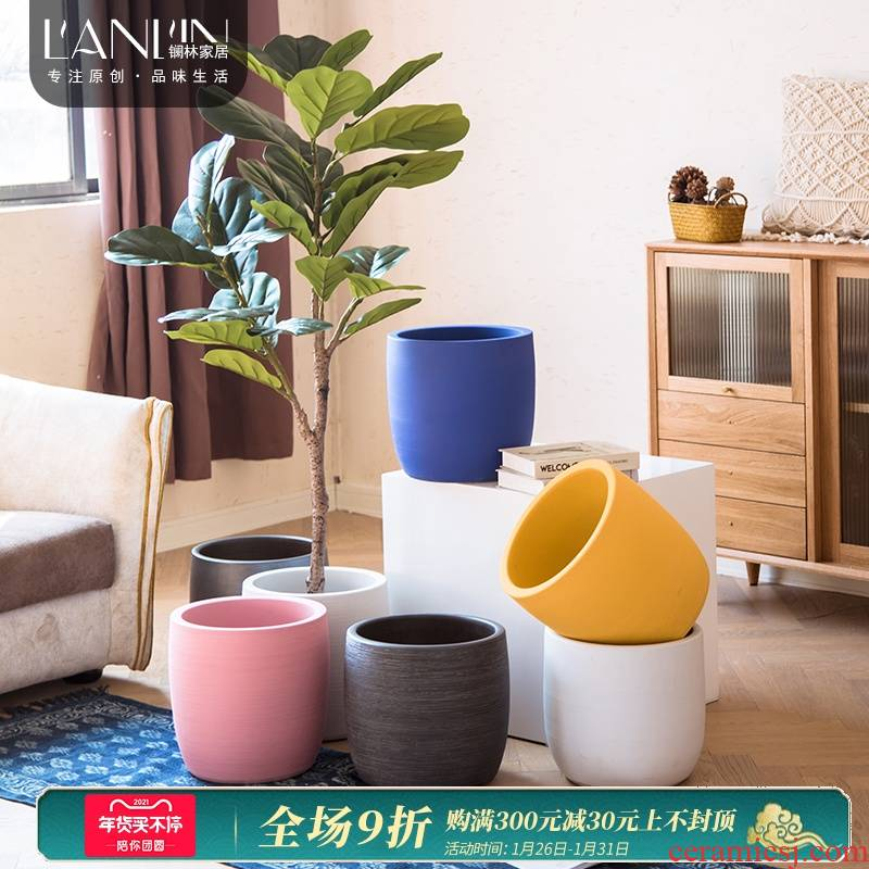 The Nordic idea ceramic flower POTS round large sitting room of I and contracted indoor ground green plant ceramic vases, furnishing articles