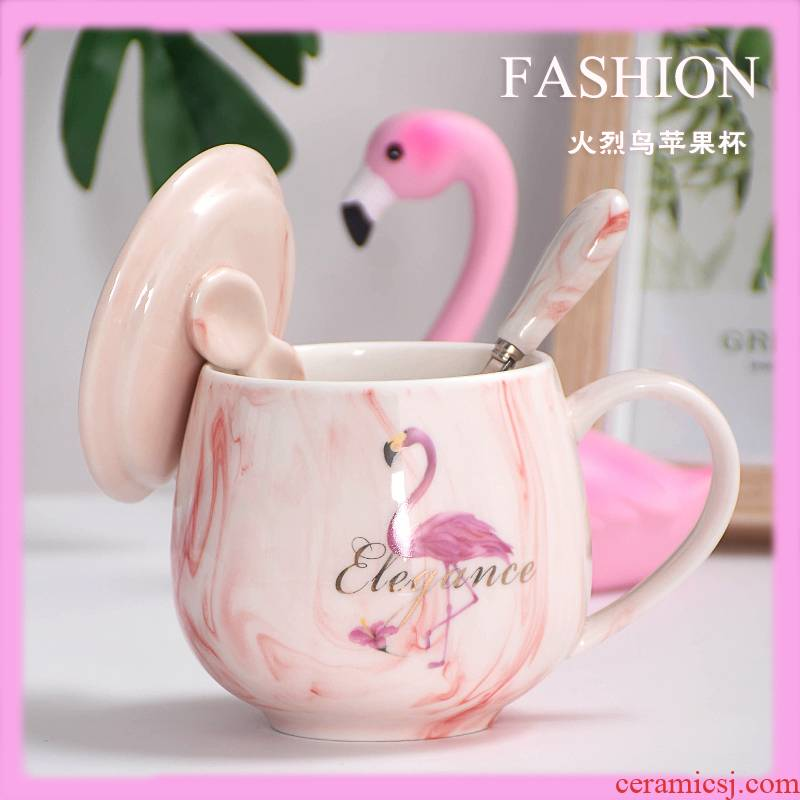 Ins wind lovely creative move ceramic cups with cover teaspoons of female household contracted cup coffee mugs trend