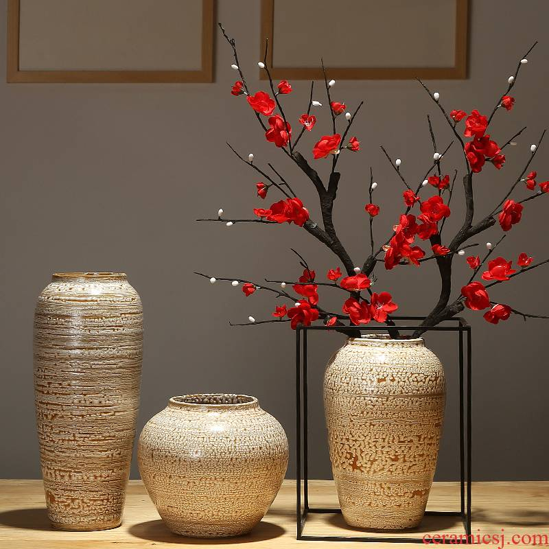 Ceramic vase wine table sitting room adornment creative flower implement new Chinese porcelain simulation dry flower arranging flowers is placed