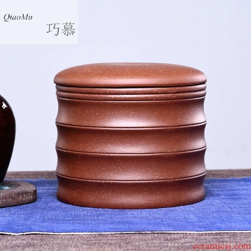 Qiao mu big code and manual sealing last come to yixing purple sand tea pot of tea, bamboo a jin of pu - erh tea storage tank