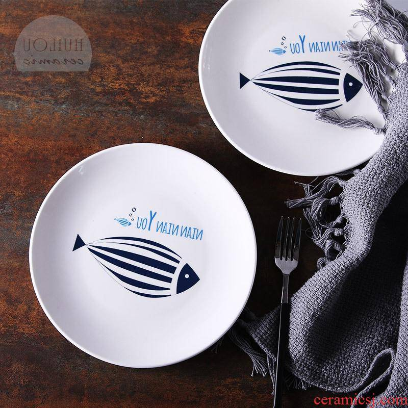 The kitchen creative cartoon ceramic plate plate plate beefsteak cuisine dishes Japanese - style tableware have fish bowl year after year The number of plates