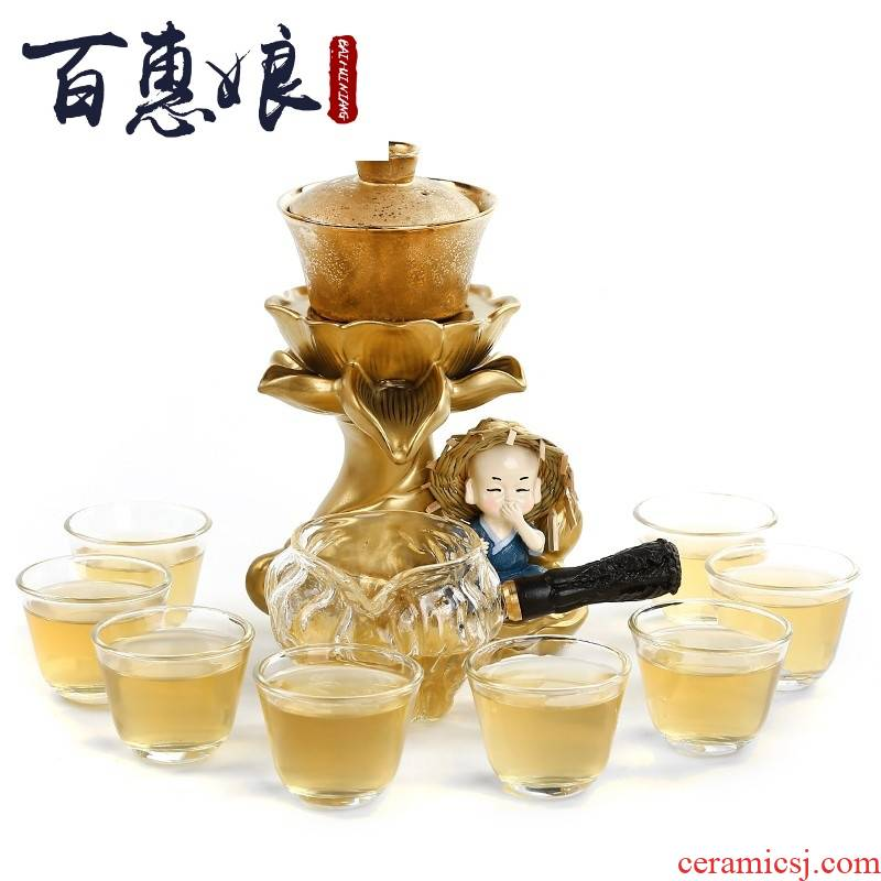 (niang lazy tea set and a half with zen tea implement creative fine gold silver glass ceramic teapot