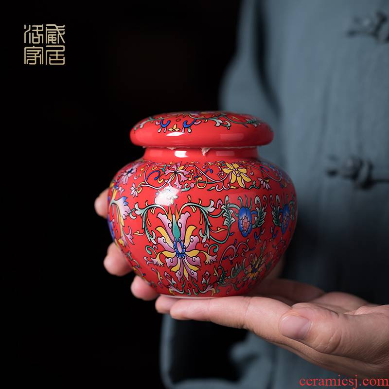 Blower, enamel see China ceramic pot Chinese wind restoring ancient ways caddy fixings storage tanks, small seal pot pot