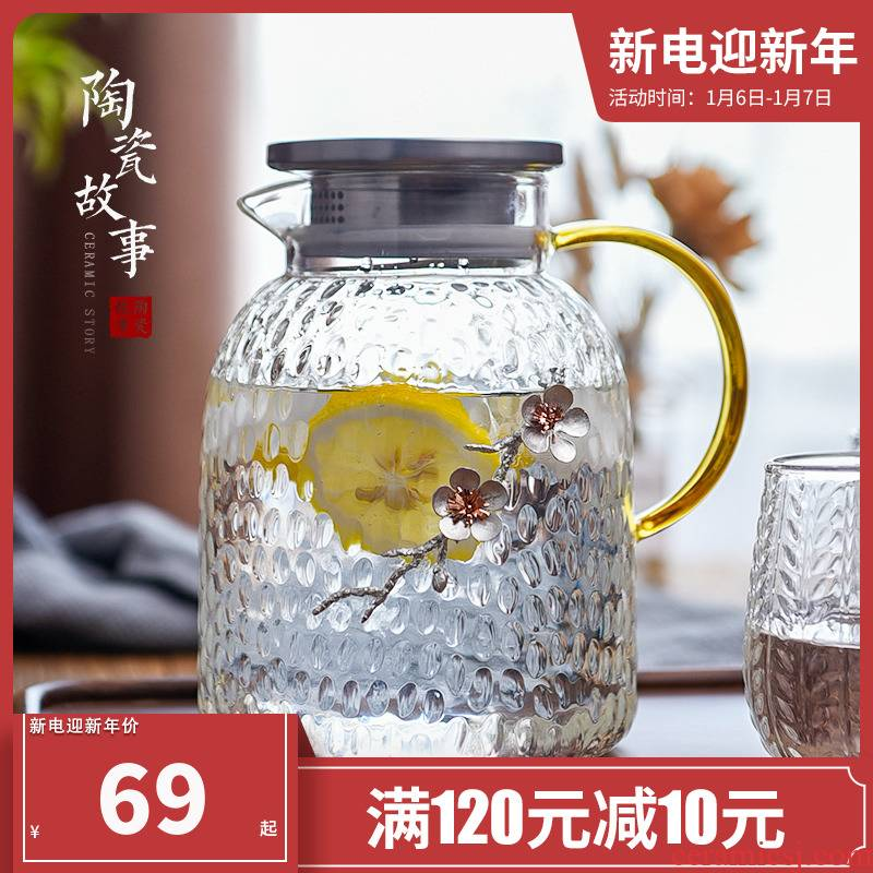Ceramic story thickening cold bottle glass kettle high - temperature household large - capacity cold boiled water kettle cup suit