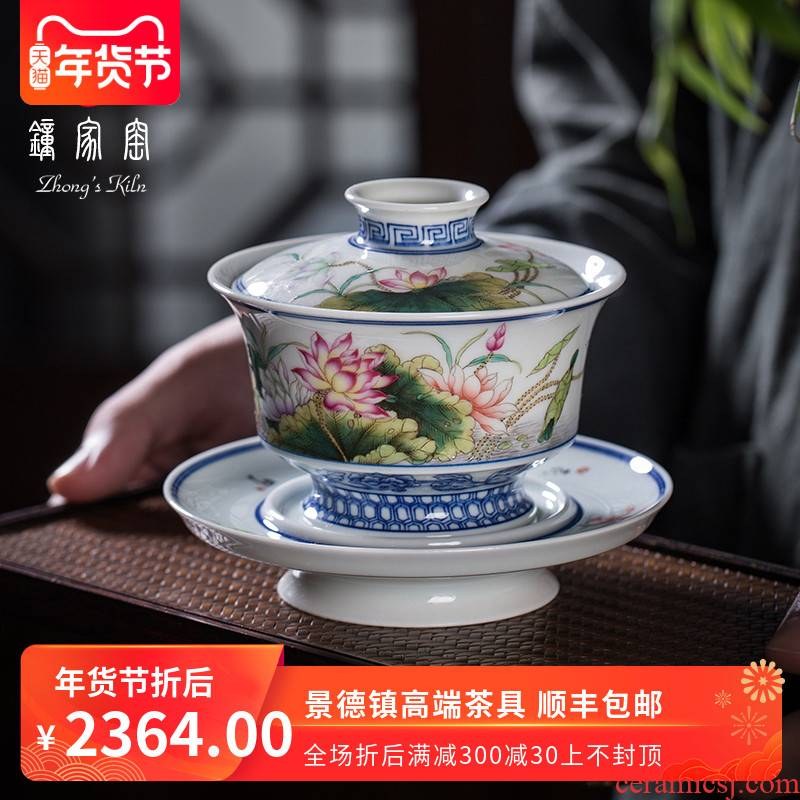 Clock home tureen jingdezhen up tea bowl tureen tea cups tureen large hand hand draw pastel lotus