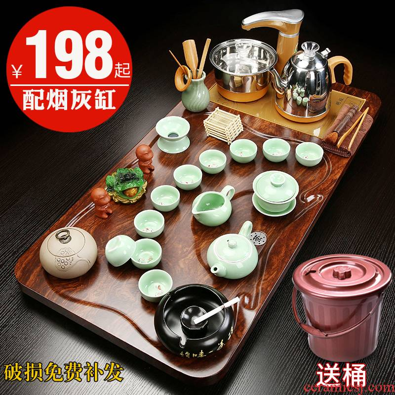 Hui shi purple sand pottery and porcelain of a complete set of kung fu tea tea set contracted household automatic electric furnace solid wood tea tray