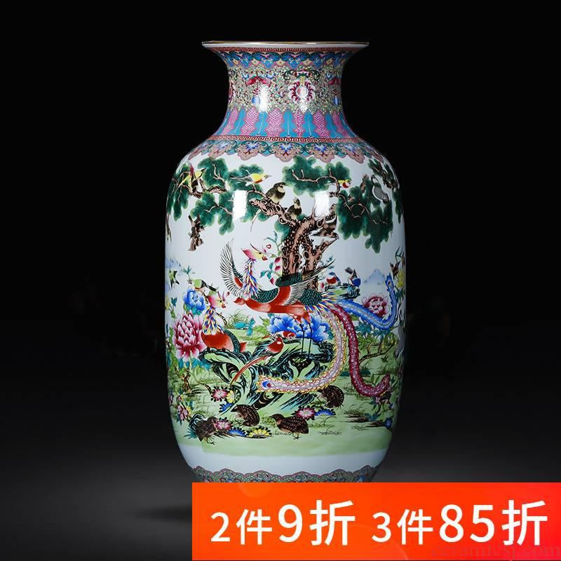 Jingdezhen porcelain ceramic floor big vase furnishing articles large living room TV cabinet decoration of Chinese style household porcelain
