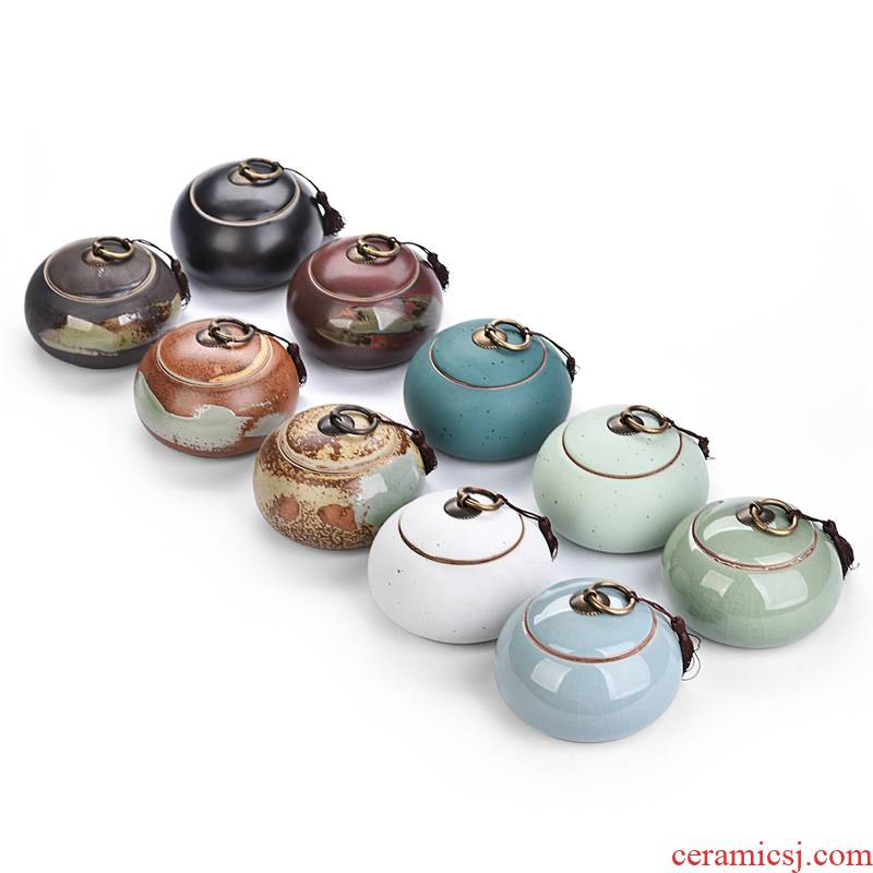 Hui shi celadon ceramic tea set portable pu - erh tea storage box storage tanks seal pot size caddy fixings