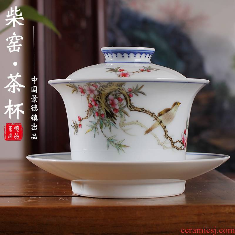 Pastel hand - made flowers and birds tureen single three to make tea tureen large bowl of high - grade ceramic cups of tea