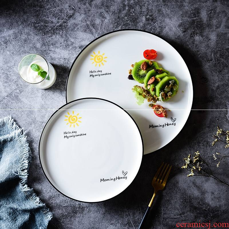 Japanese household tableware creative dishes beefsteak.net red breakfast salad plate disc ceramic pasta dishes