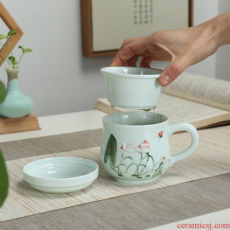 Elegant cups hand - made ceramic concentric filter tank tea tea cup office personal household heat - resistant glass cup