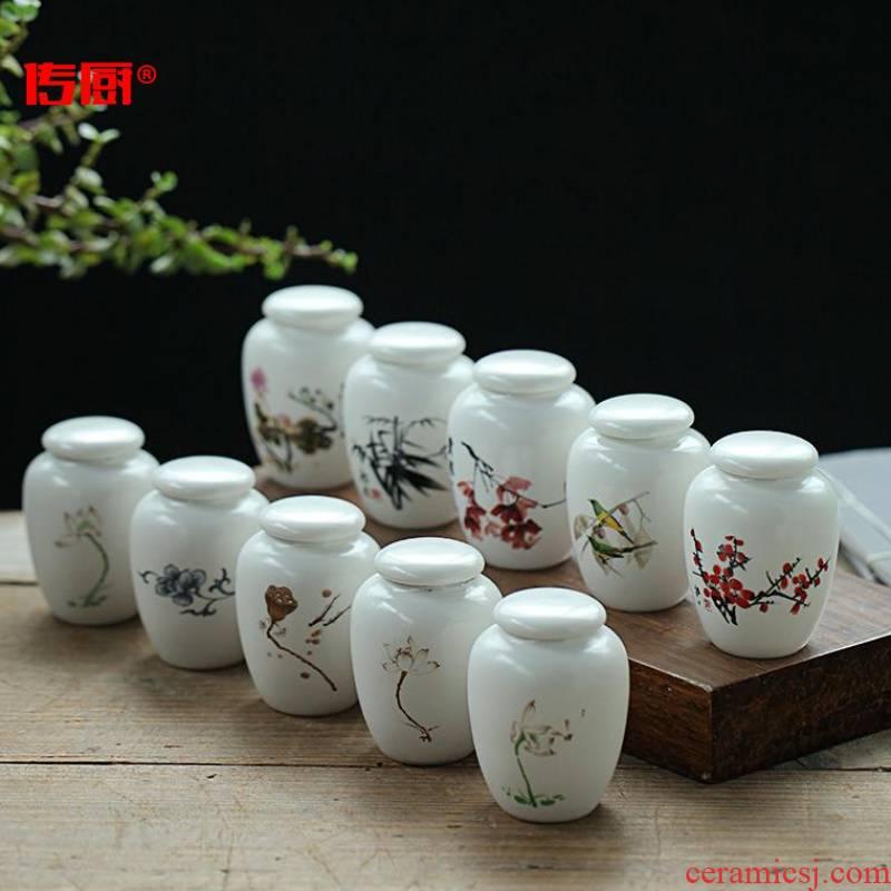 The mini kitchen pu 'er tea as cans ceramic small green tea pu - erh tea flowers herbs tea cream powder sealed storage tanks